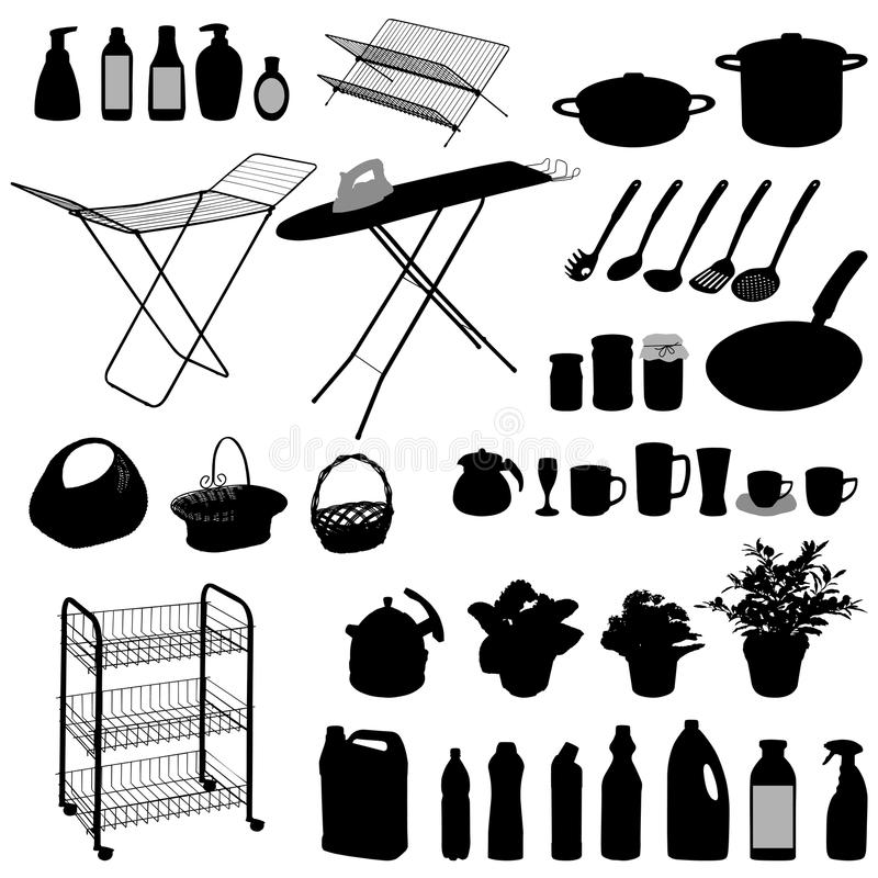 Kitchen Objects, Silhouette Stock Photo