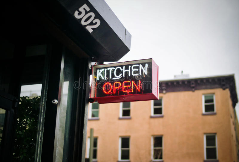 Kitchen open sign royalty free stock image