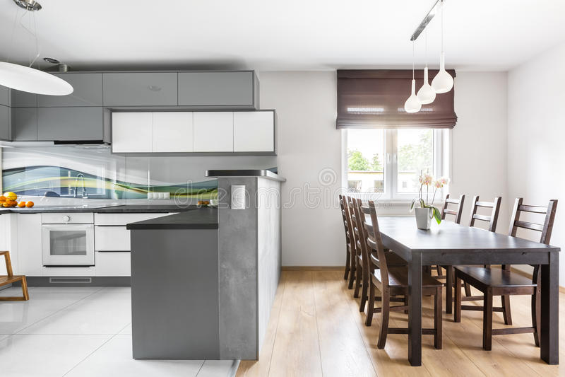 Kitchen open to dining area stock image