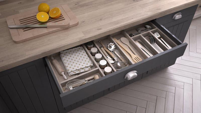 Kitchen opened drawer full of kitchenware. 3D illustration vector illustration