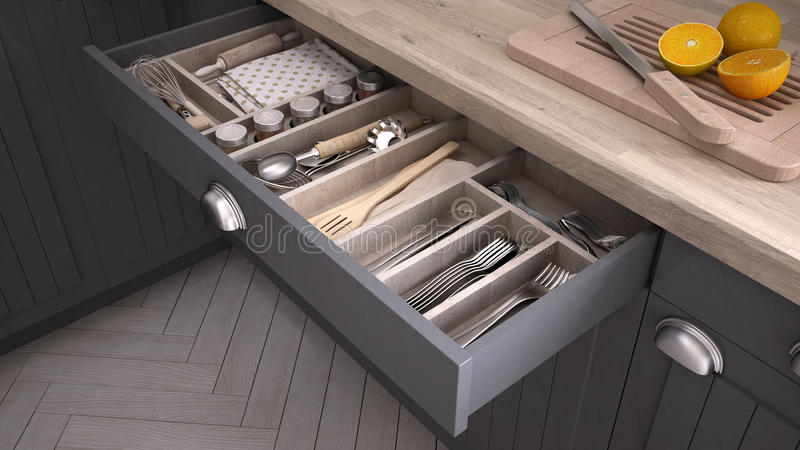 Kitchen opened drawer full of kitchenware. 3D illustration royalty free illustration