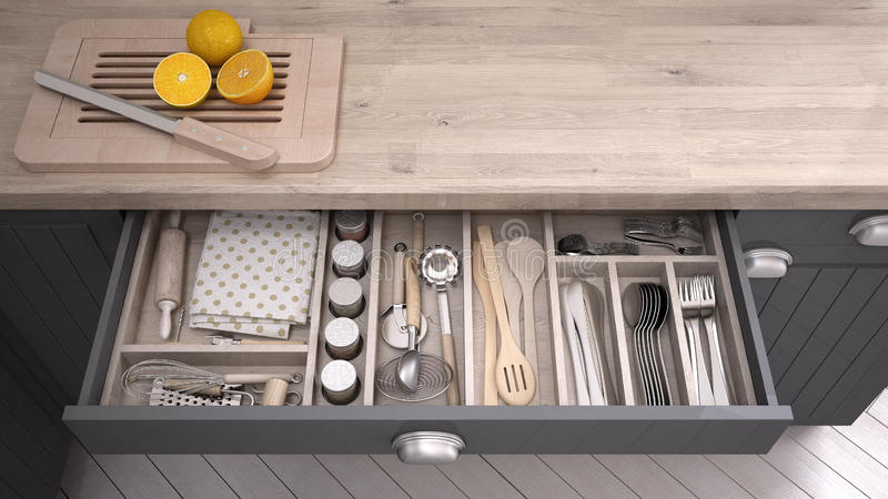 Kitchen opened drawer full of kitchenware. 3D illustration stock illustration