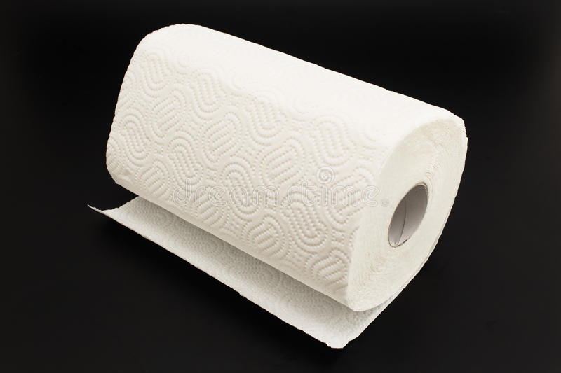 Kitchen Paper Towel on a Black Background stock photography