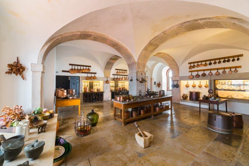 Kitchen, Pena National Palace, Sintra, Portugal royalty free stock photo