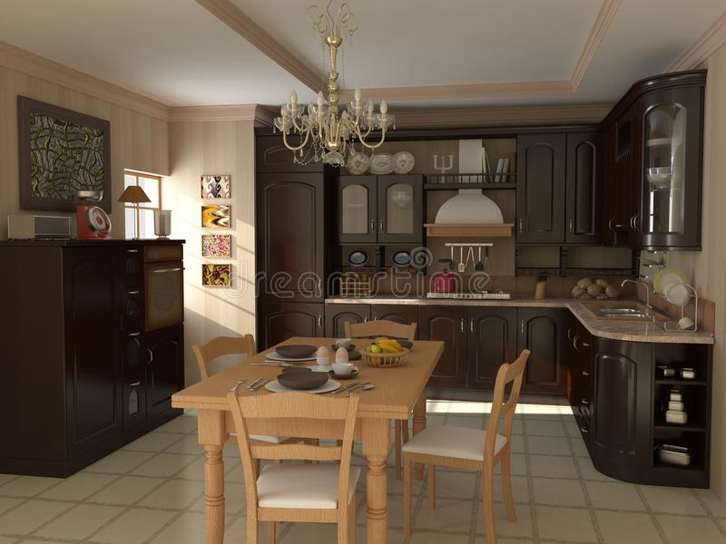 Kitchen Photo realistic Render stock illustration