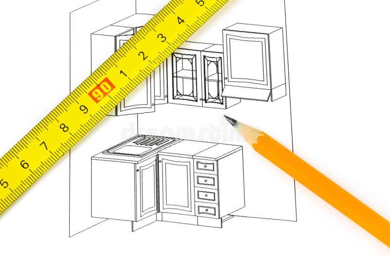 Kitchen plan stock photo