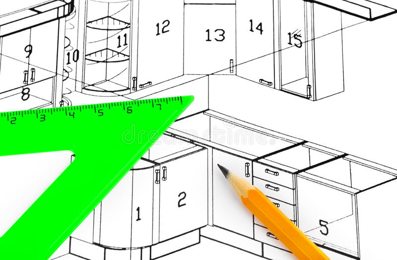 Kitchen plan stock images