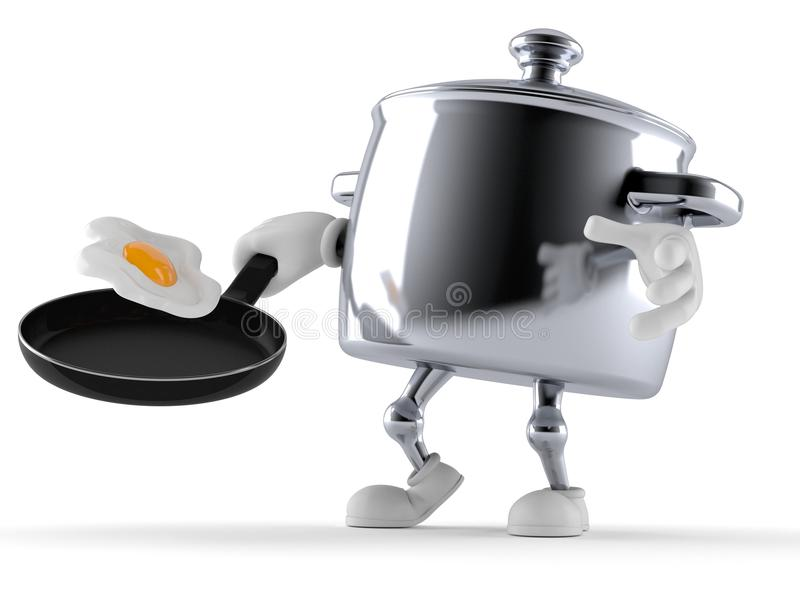 Kitchen pot character holding frying pan. On white background royalty free illustration