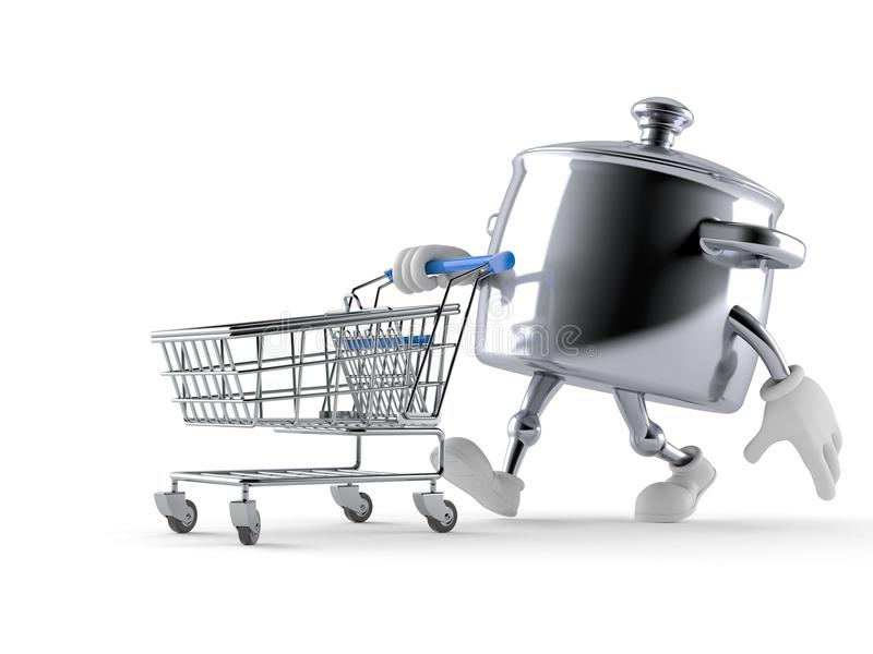 Kitchen pot character with shopping cart vector illustration