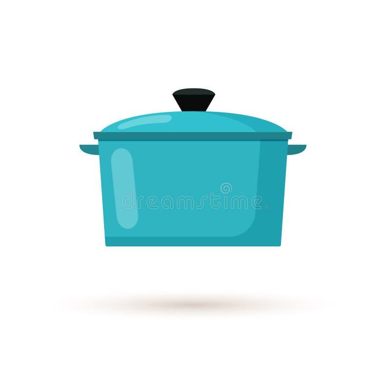 Kitchen Pot Flat Style Vector Illustration royalty free illustration