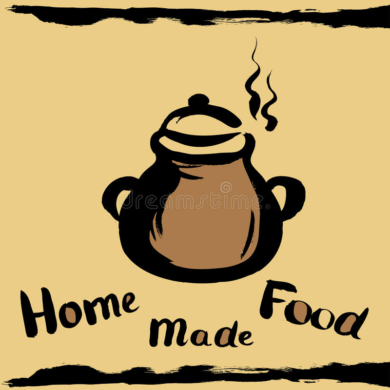 Kitchen pot. With the inscription home made food, hand drawing design elements for your banner, ads or web royalty free illustration