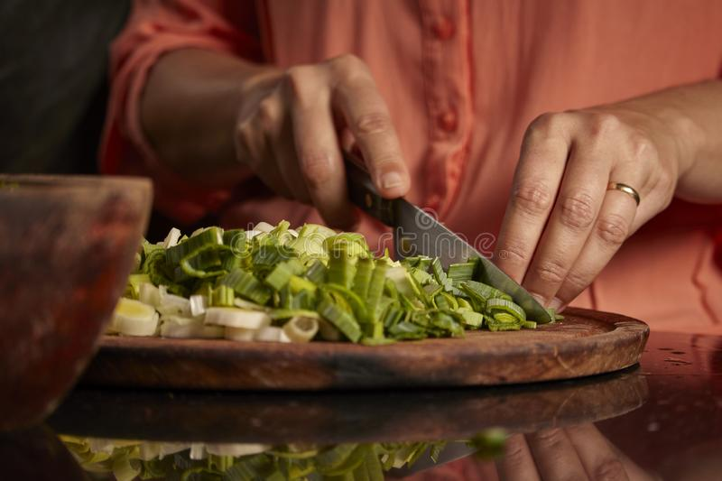 Raw vegetables of green color. Kitchen. Raw vegetables of green color. Nutritious and delicious food. Woman cutting green onion, zucchini, carrots stock photography
