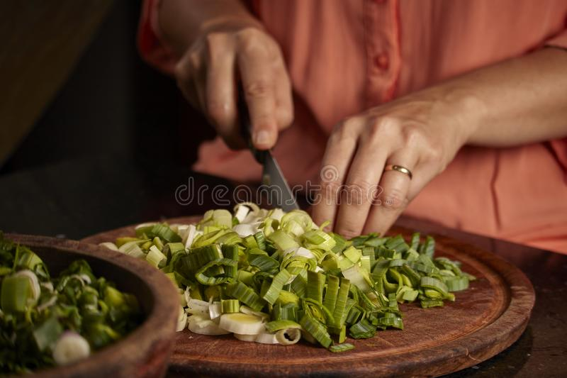 Raw vegetablesb of green color. Kitchen. Raw vegetables of green color. Nutritious and delicious food. Woman cutting green onion, zucchini, carrots royalty free stock image