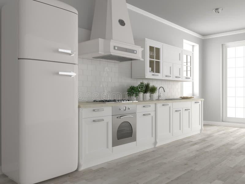 Kitchen render day. New luxury kitchen white interior residential render  3d illustration royalty free illustration