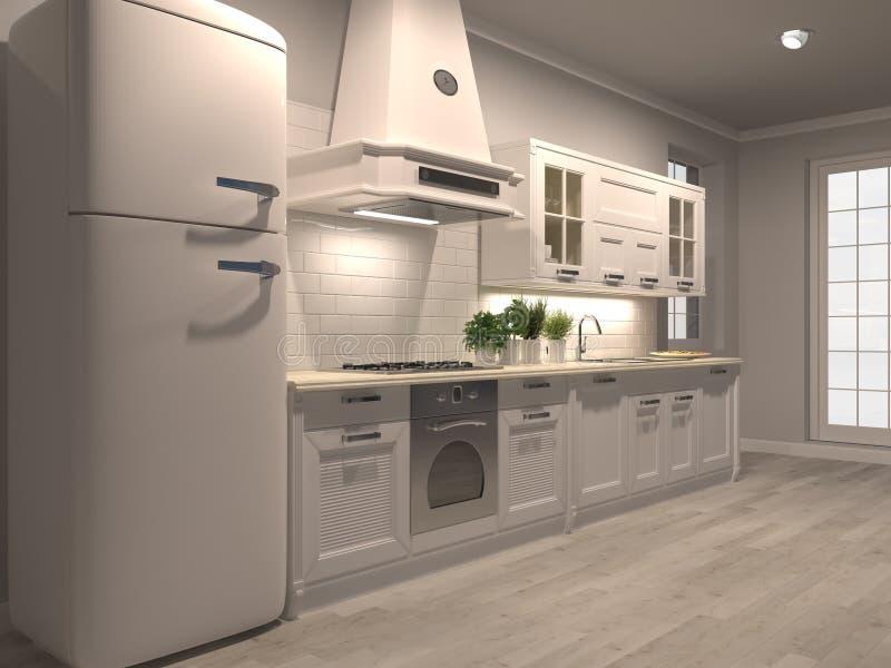 Kitchen render night. New luxury kitchen white interior residential render  3d illustration vector illustration