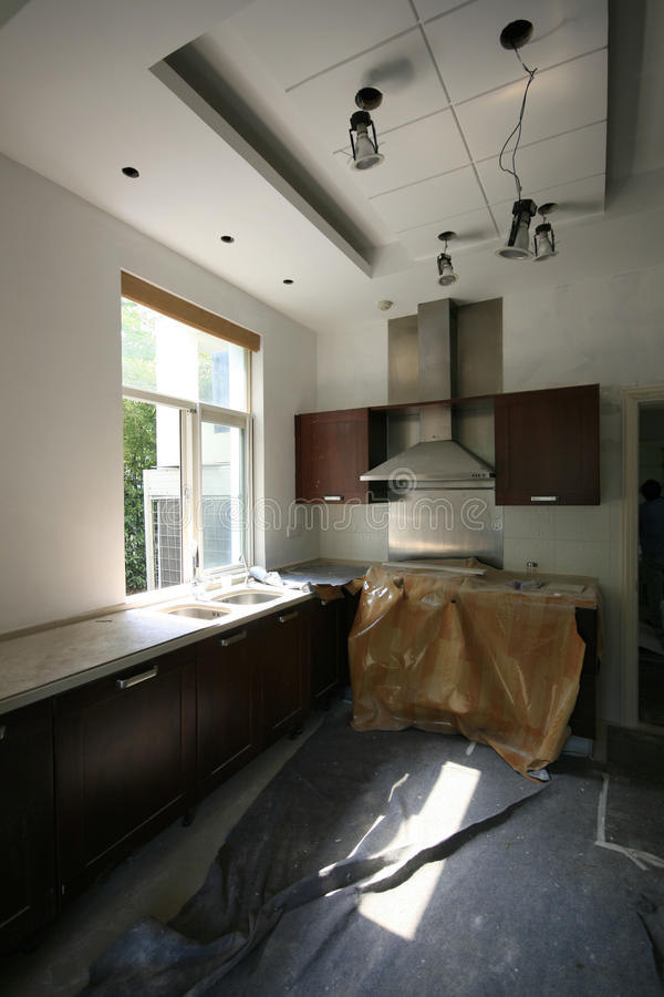 Kitchen Renovation. A kitchen under construction and renovation stock photos