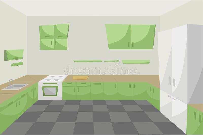 Kitchen room inside cabinets modern interior floor green furniture stove sink lockers empty clean good cartoon design. Vector stock illustration