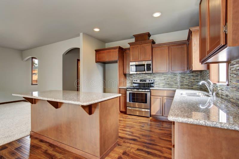 Kitchen Room Interior With Brown Cabinets, Kitchen Island ...