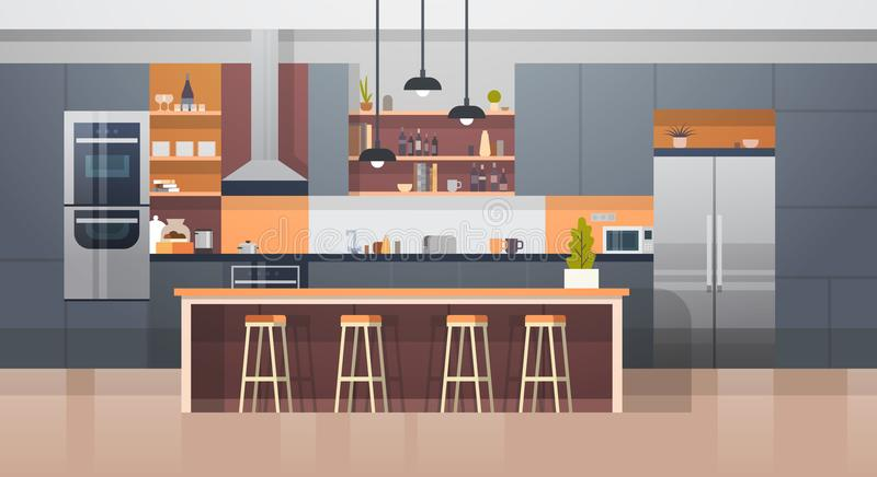 Kitchen Room Interior With Modern Furniture Counter And Appliances. Flat Vector Illustration vector illustration