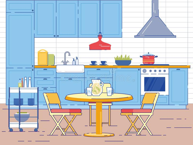 Kitchen Room Interior with Round Table and Chairs stock illustration