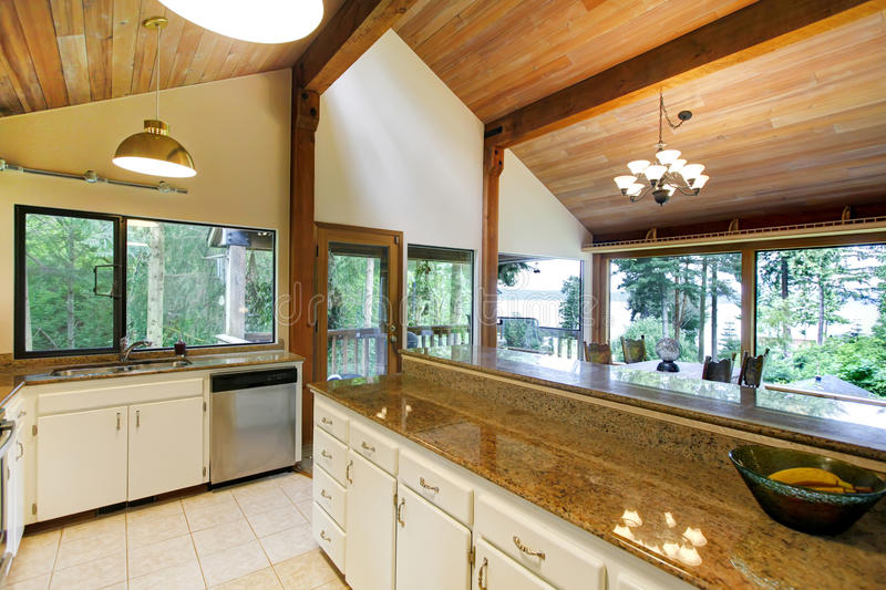 Download Kitchen Room In Log Cabin House With Walkout Deck Stock Image
