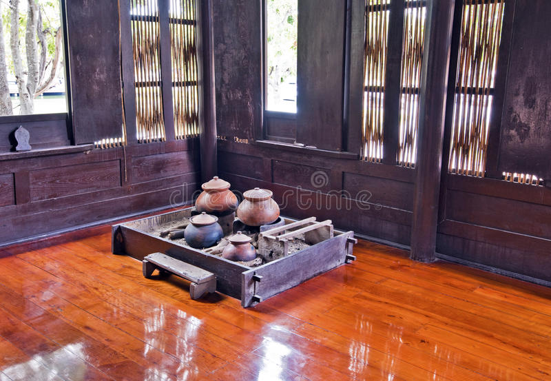 Kitchen room in traditional Thai house in Ayutthaya region. In Thailand stock photography