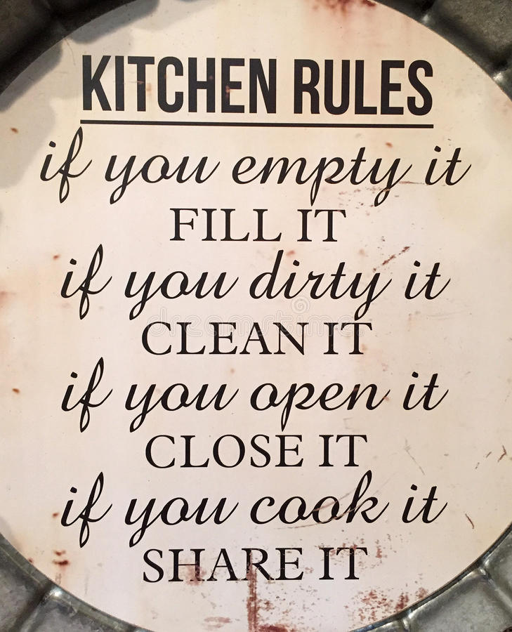 Kitchen rules stock photos
