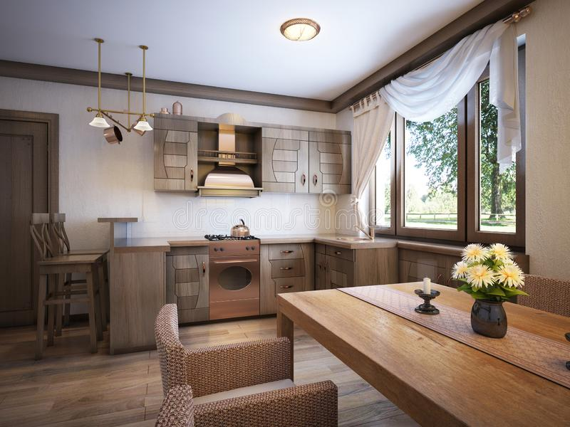 Kitchen rustic style with a dining table and wooden furniture stock illustration
