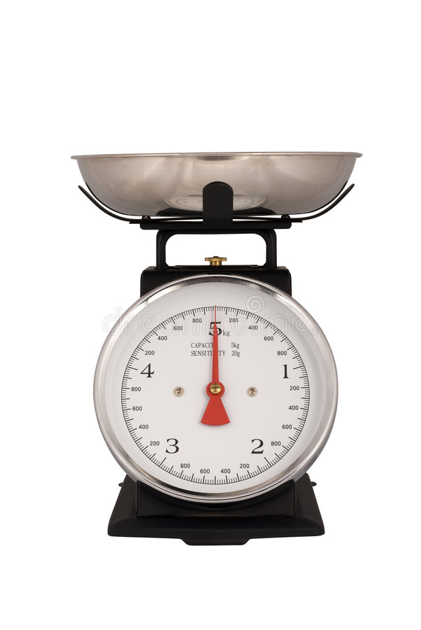 Kitchen Scales isolated on white stock photo