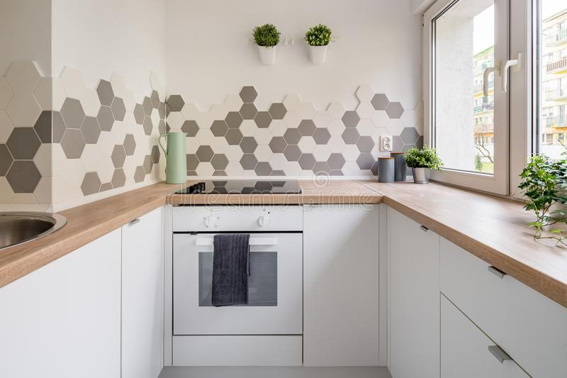 Kitchen in scandinavian style royalty free stock images