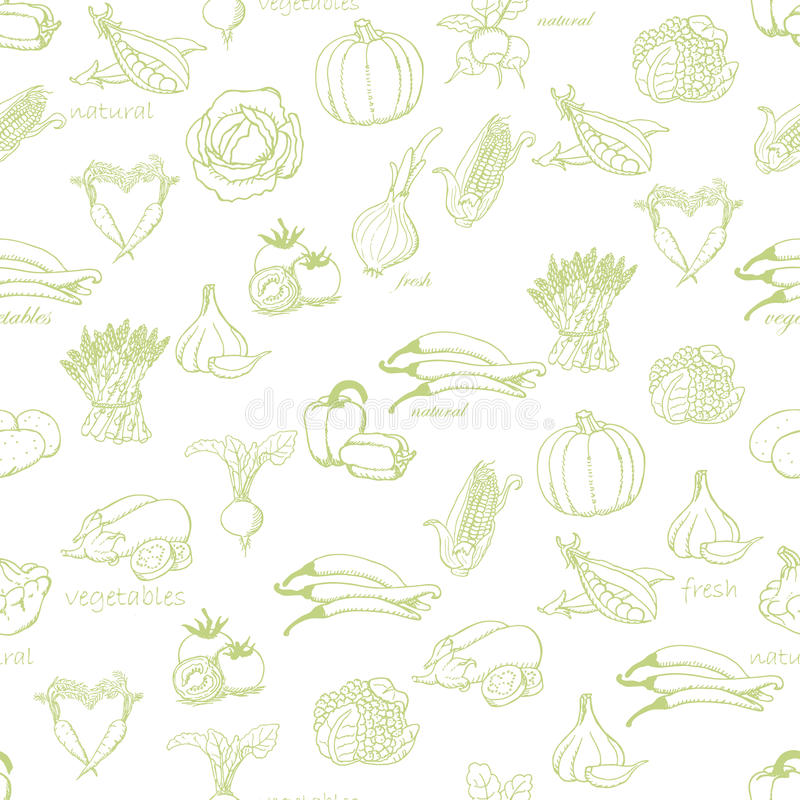 Kitchen seamless pattern with a variety of vegetables on light green background royalty free illustration