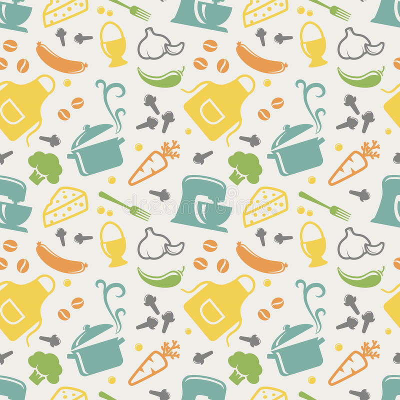 Kitchen seamless pattern. Vector background. stock illustration