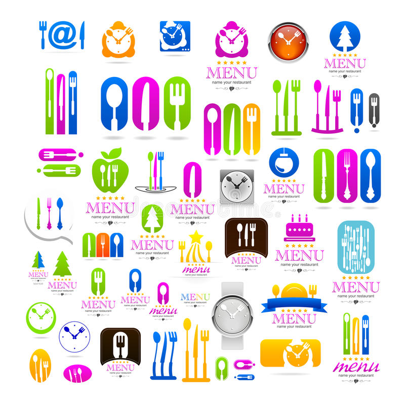 Kitchen set business logo web icons sign royalty free illustration