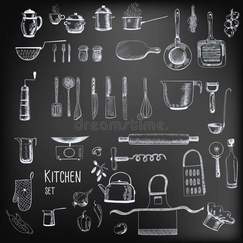 Kitchen set. Large collection of hand - drawn kitchen related objects on chalkboard background
