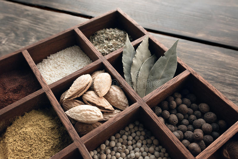 Kitchen set of spices stock image