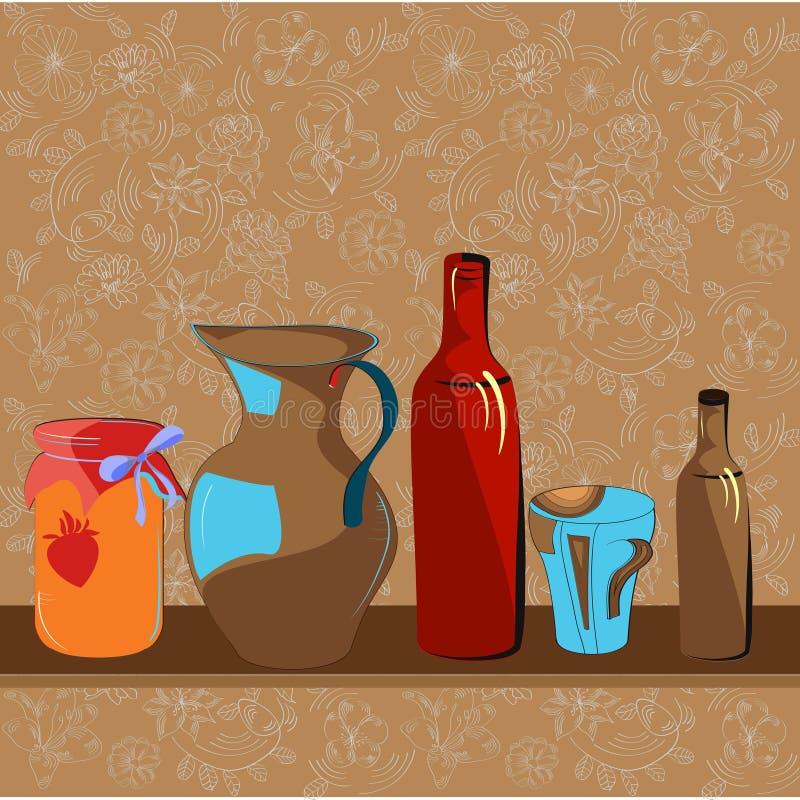 Download Kitchen shelf stock vector. Illustration of ball, gold - 12876216