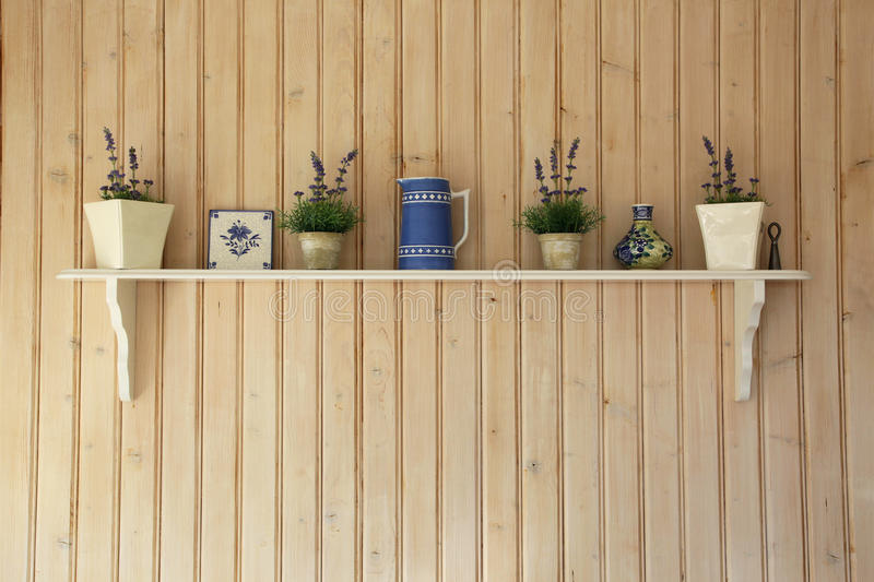 Kitchen Shelf. With ceramics and pots. A typical nordic domestic view