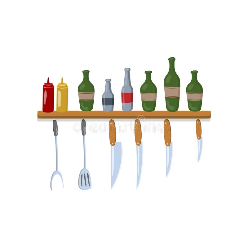 Kitchen shelf with cooking tools and bottles cartoon vector Illustration stock illustration