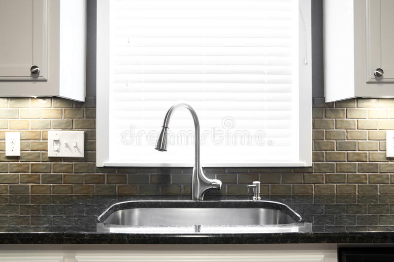 Kitchen Sink. A kitchen sink and window centered in a kitchen royalty free stock image