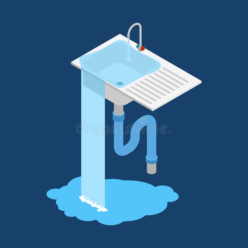 Kitchen sink is clogged. Leakage canalization. Litter in pipe. I royalty free illustration