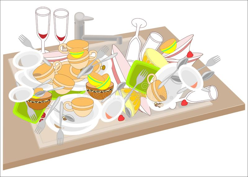 Kitchen sink. Dirty dishes fill the sink. Bowls, cups, spoons, forks, glasses dropped on a pile. It is necessary to wash the. Dishes. Vector illustration royalty free illustration