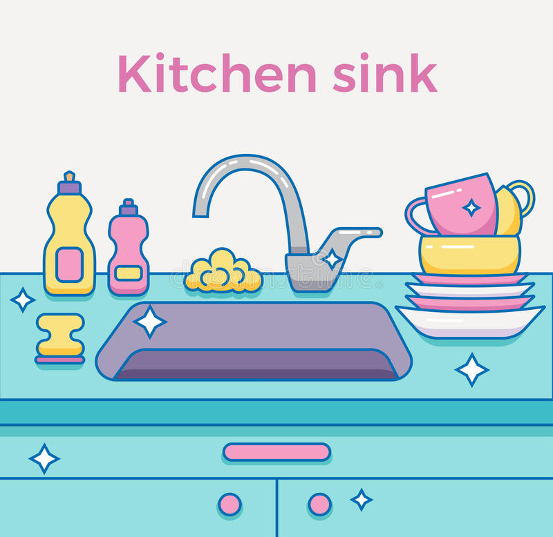 Cartoon Kitchen Sink ~ Kitchen sink with kitchenware stock vector illustration