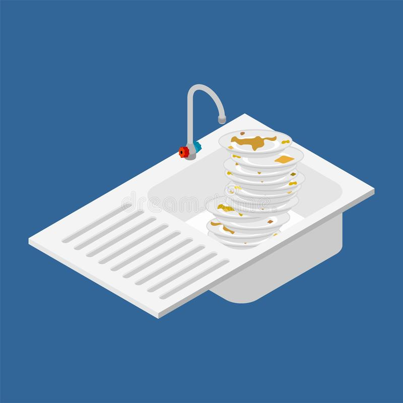 Kitchen sink and lot of dirty dishes. Isometric style vector ill stock illustration