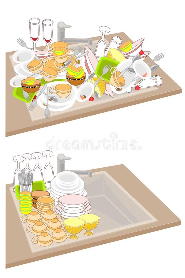 Kitchen sink. Two pictures. Dirty dishes fill the sink. Clean dishes are accurately stacked on the sink. Vector illustration.  vector illustration