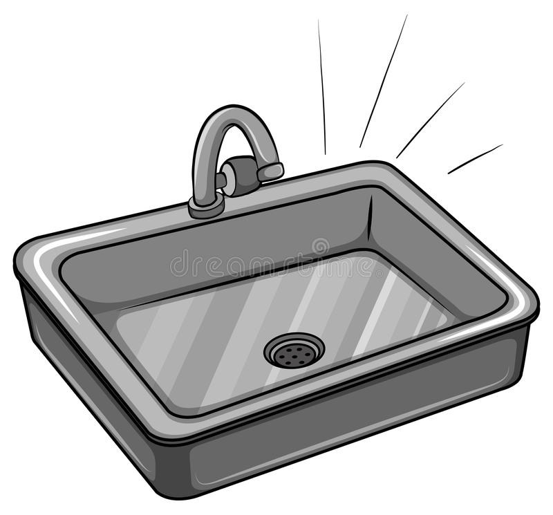 Kitchen Sink Drawing: A Kitchen Sink Stock Vector. Illustration Of Aluminum