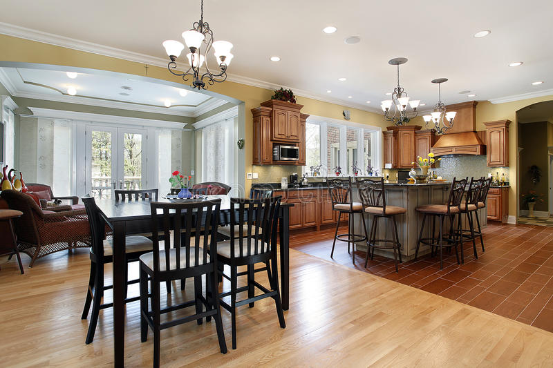 Kitchen with sitting room stock images