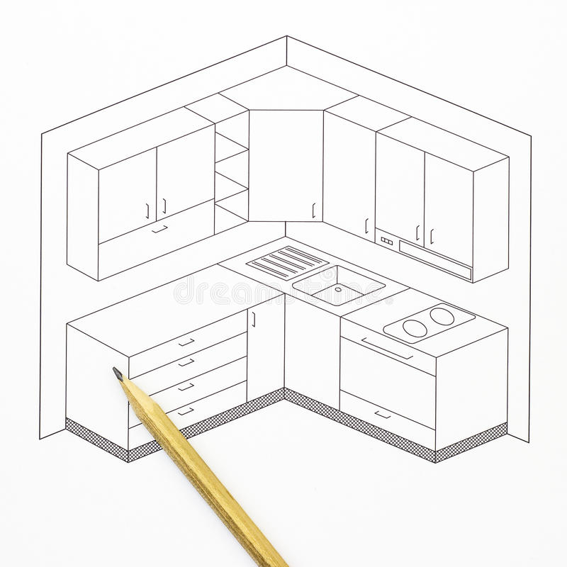 Kitchen Sketch Stock Image. Image Of Drawing, Outline