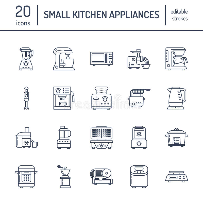 Kitchen small appliances line icons. Household cooking tools signs. Food preparation equipment - blender, coffee machine stock illustration
