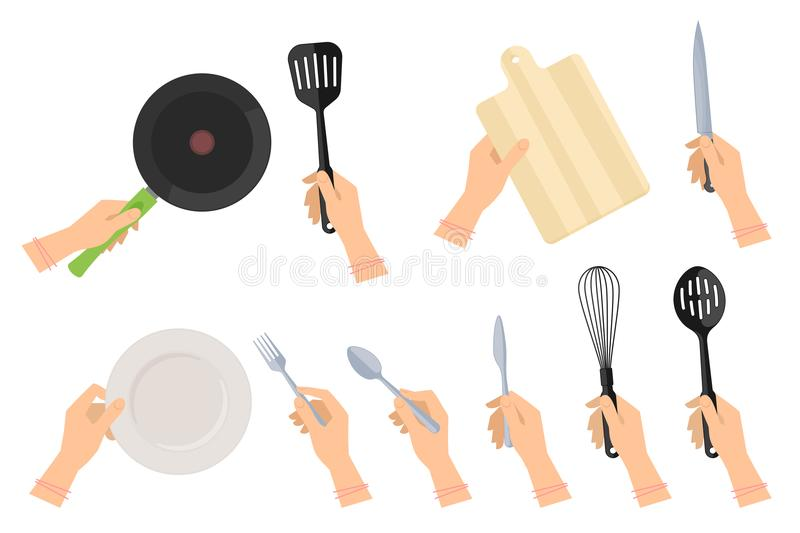 Female hands with kitchen utensils. Kitchen steel utensils and kitchenware set. Female hands holding frying pan and plastic slotted spatula, ceramic dish royalty free illustration