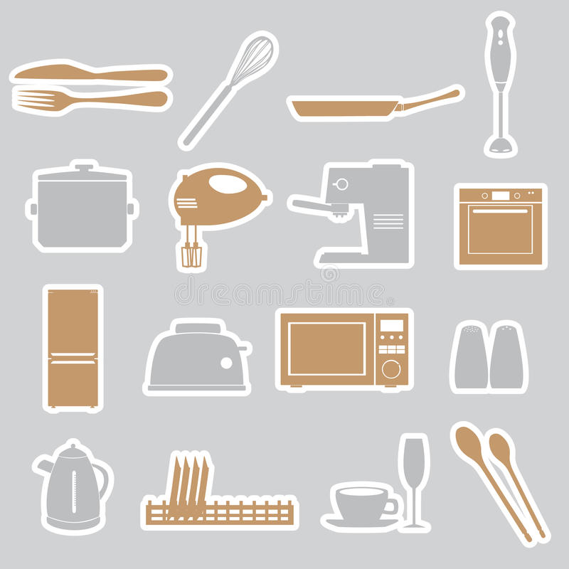 Download Kitchen stickers set eps10 stock vector. Image of graphic - 37379133